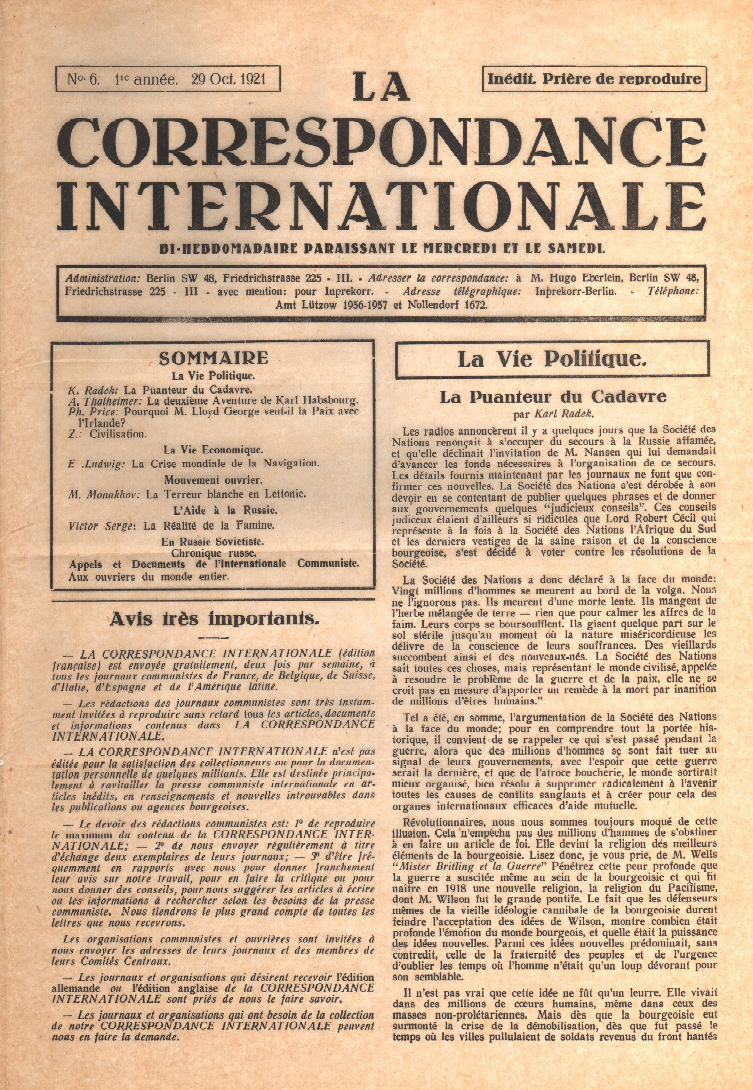 Correspondance Internationale n.6 - pag. 1