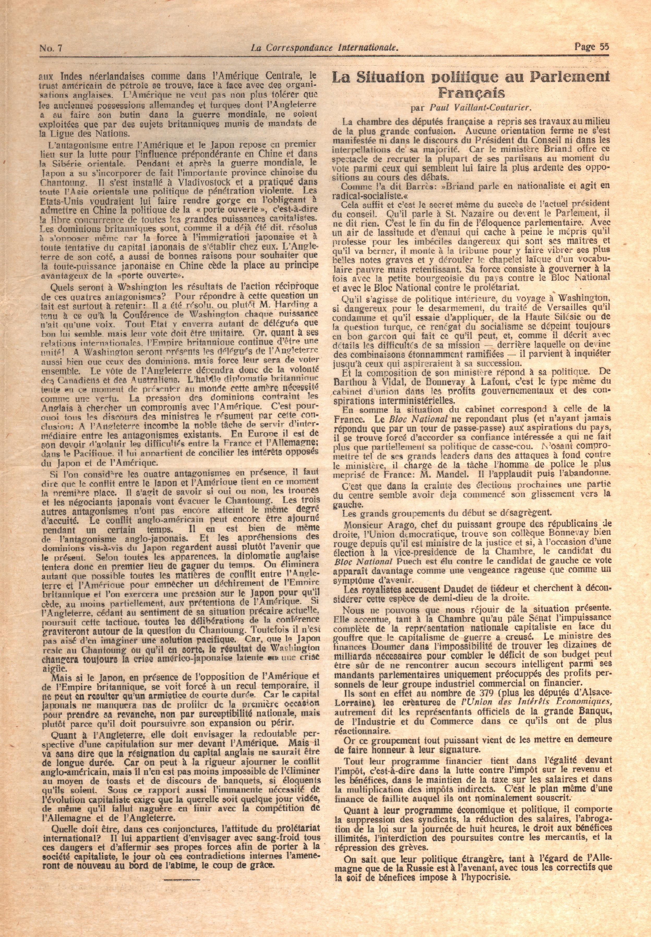 La Correspondance Internationale 7 - pag. 03