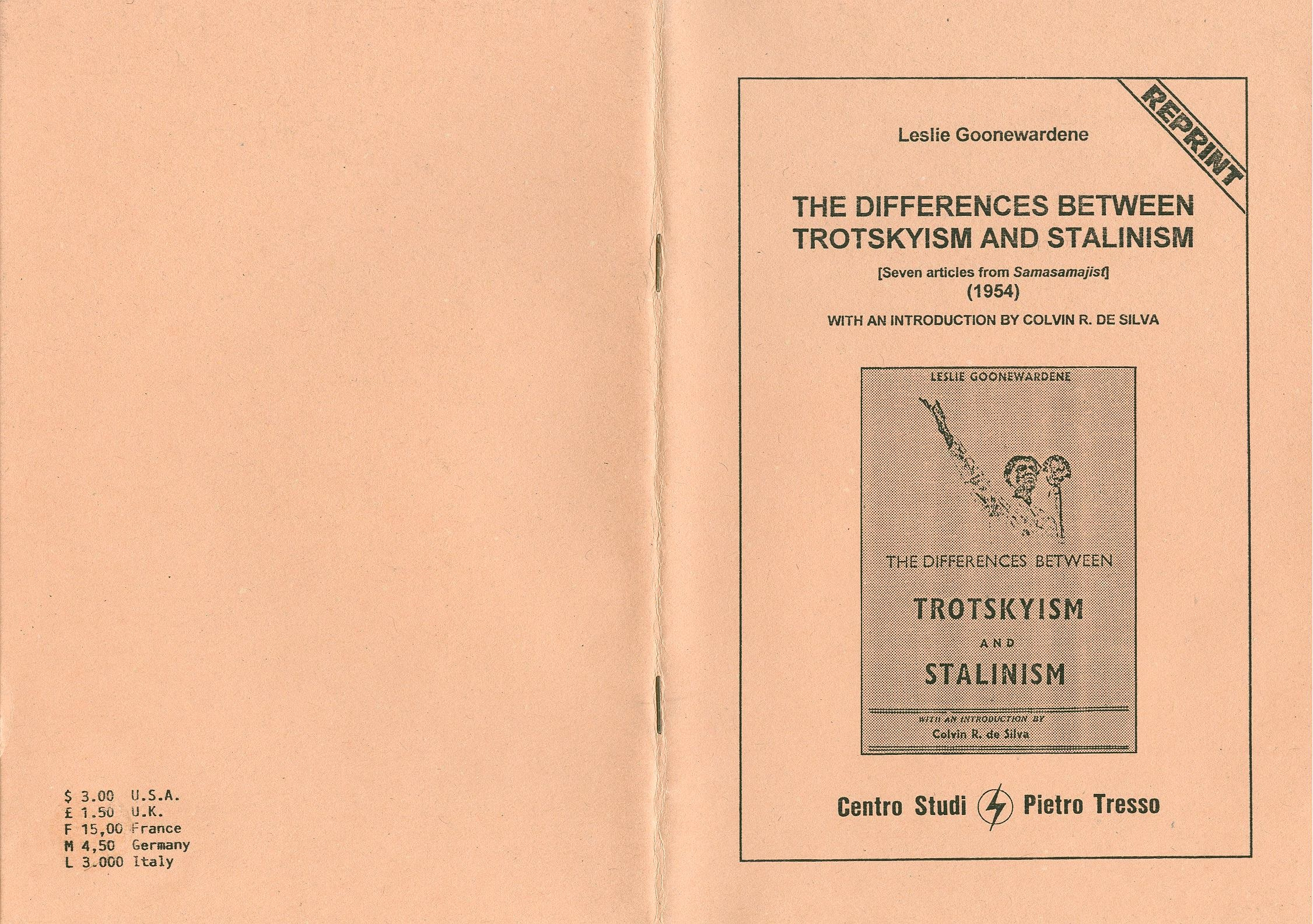 Leslie Goonewardene, The Differences between Trotskyism and Stalinism [1954] (1995) - pag. 1