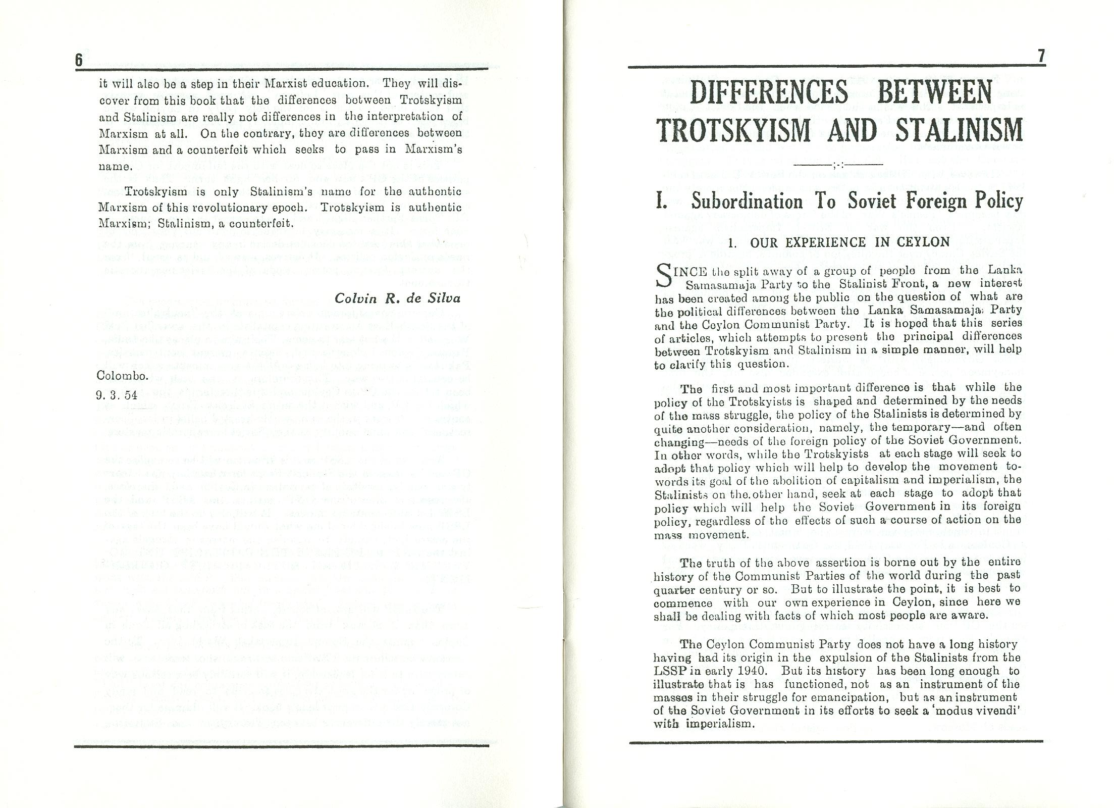 Leslie Goonewardene, The Differences between Trotskyism and Stalinism [1954] (1995) - pag. 5