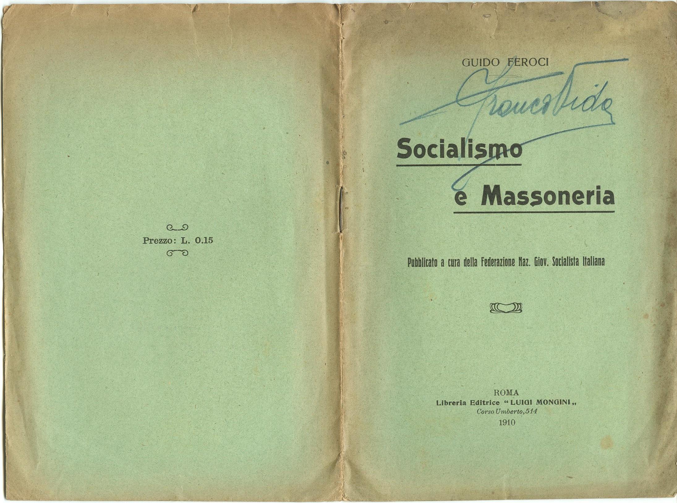 Guido Feroci, Socialismo e Massoneria (1910) - pag. 1