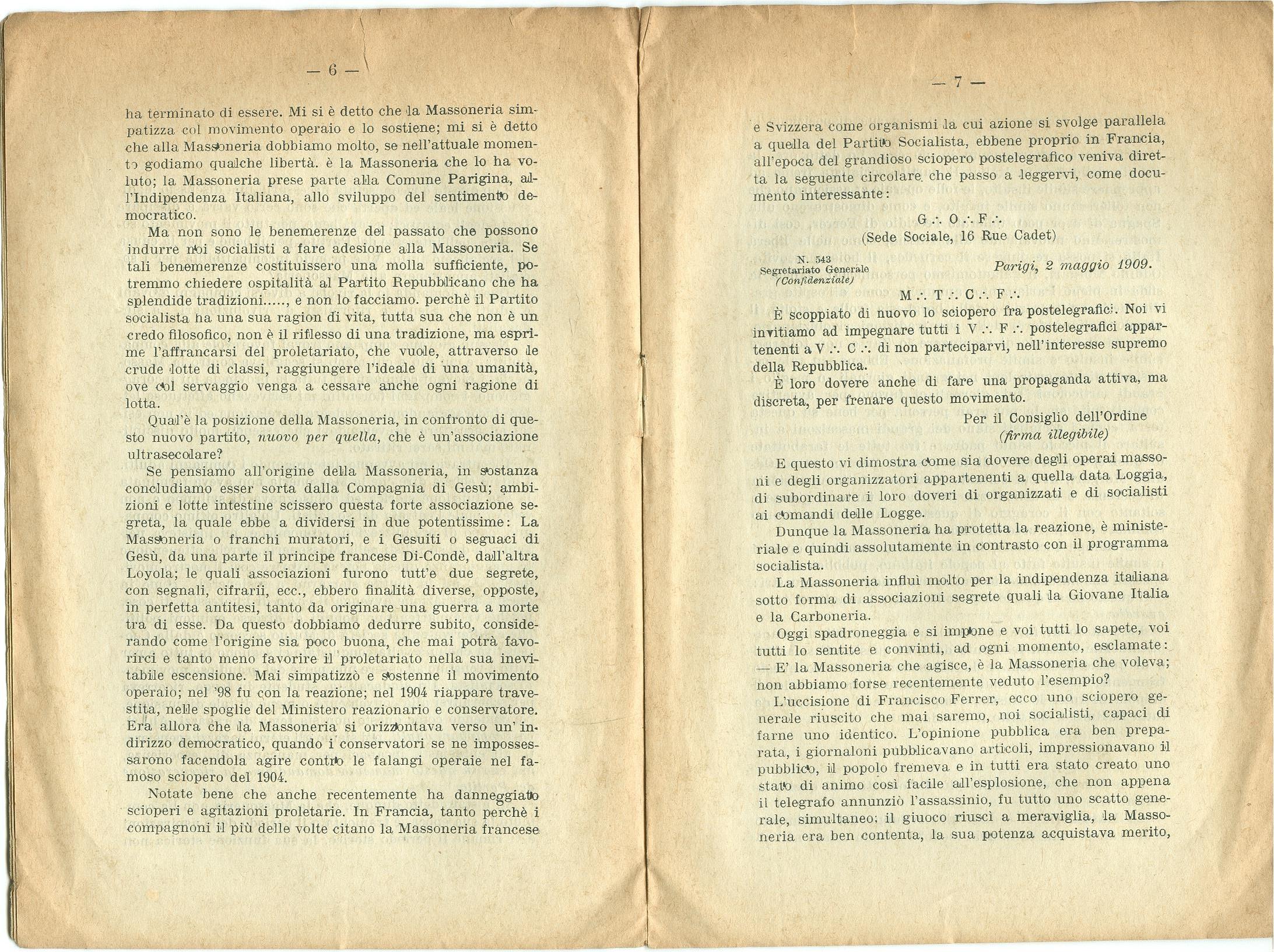 Guido Feroci, Socialismo e Massoneria (1910) - pag. 5