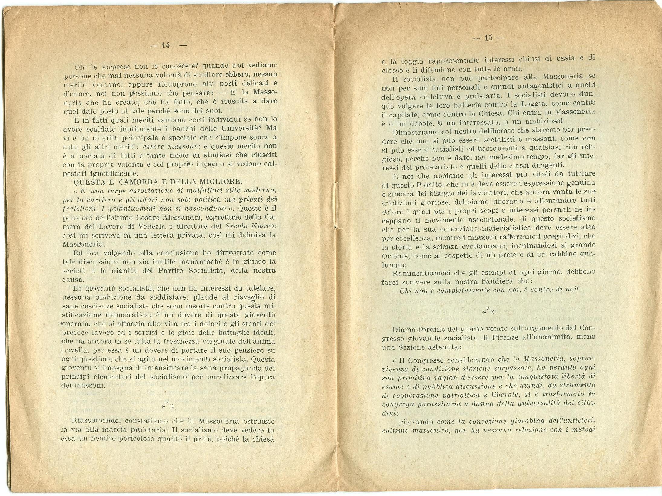 Guido Feroci, Socialismo e Massoneria (1910) - pag. 9