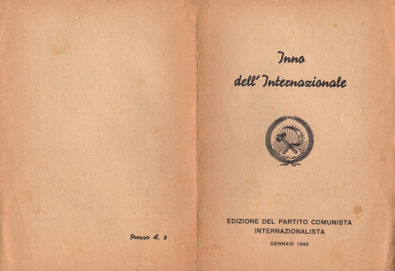 Inno dell'Internazionale (Edizione del Partito Comunista Internazionalista, gennaio 1945) - pag. 1