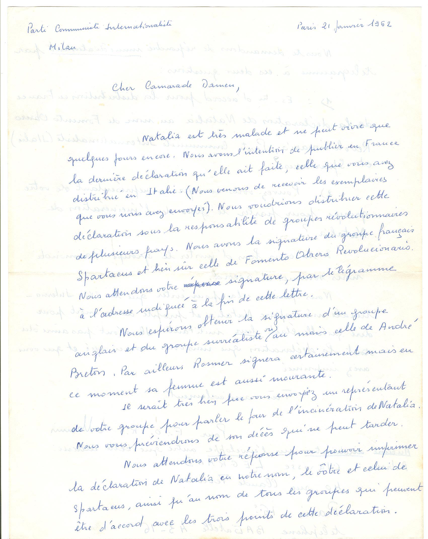 01 >> 1.a - Lettera di Munis a Onorato Damen (21 gennaio 1962)