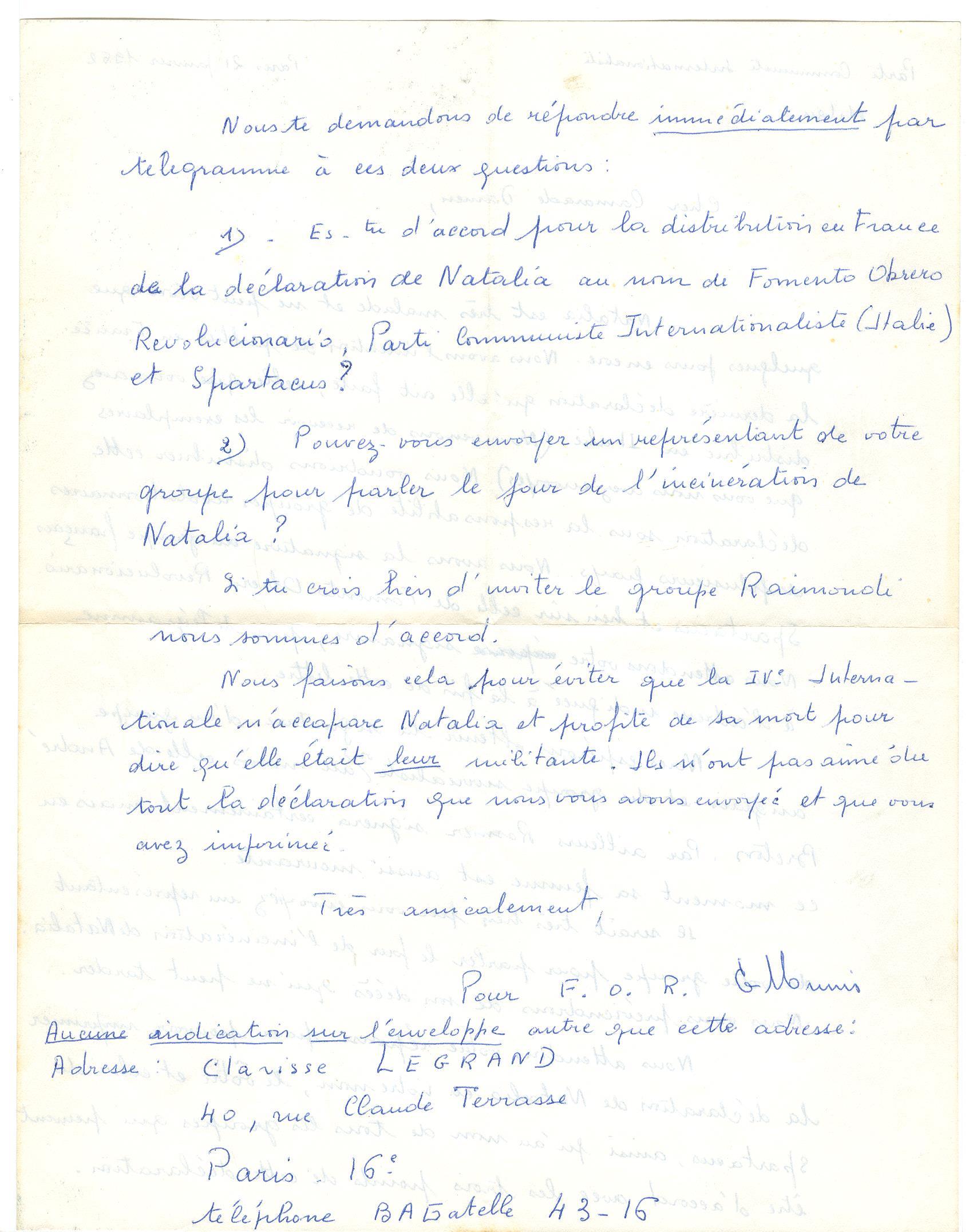 02 >> 1.b - Lettera di Munis a Onorato Damen (21 gennaio 1962)