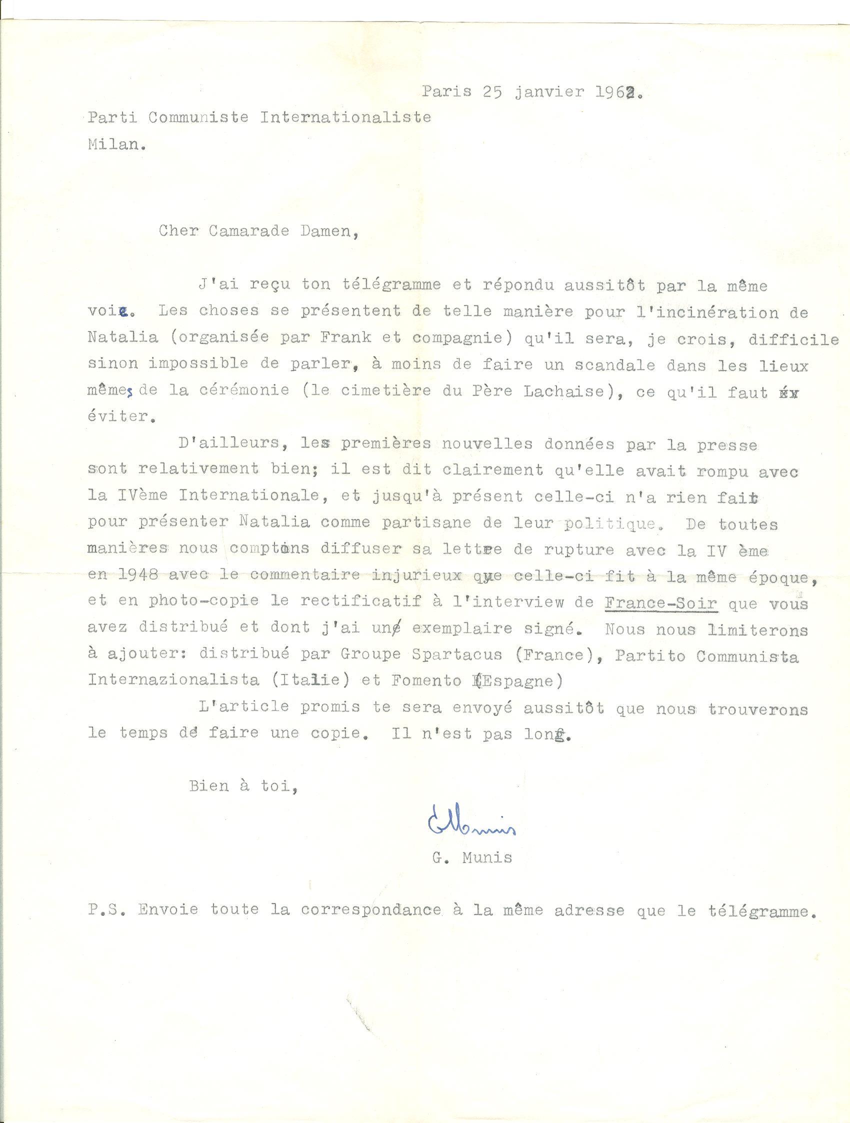 03 >> 2 - Lettera di Munis a Onorato Damen (25 gennaio 1962)