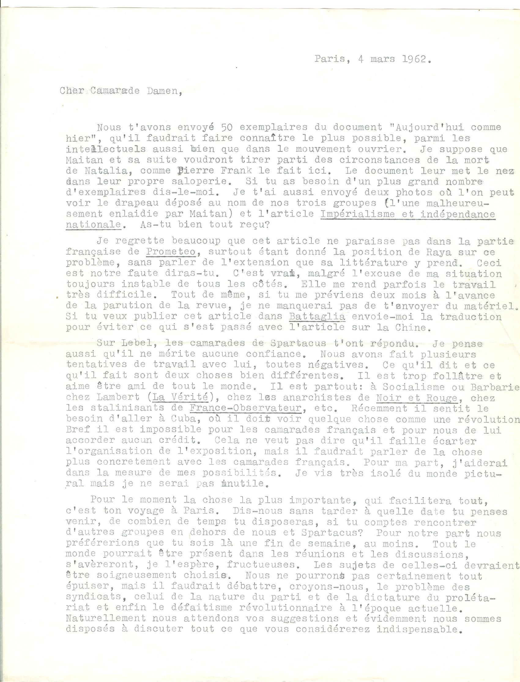 04 >> 3.a - Lettera di Munis a Onorato Damen (4 marzo 1962)