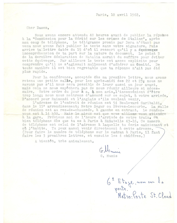 06 >> 4 - Lettera di Munis a Onorato Damen (10 aprile 1962)