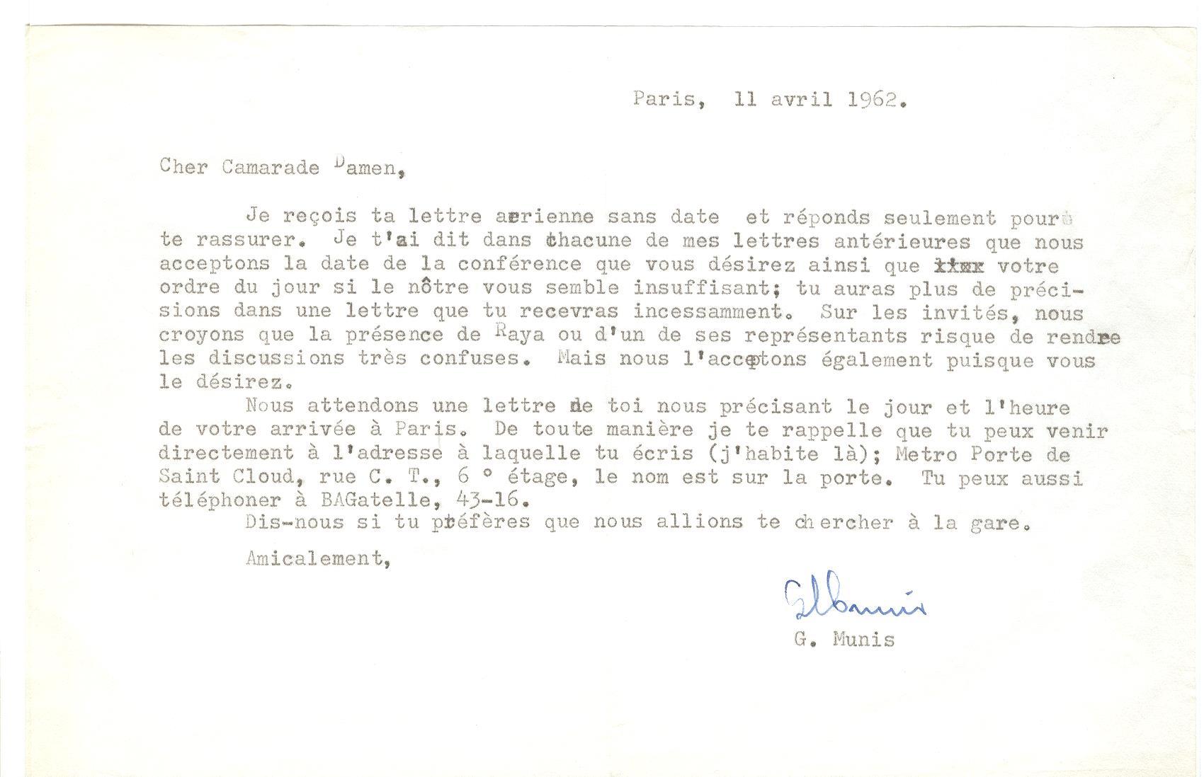 07 >> 5 - Lettera di Munis a Onorato Damen (11 aprile 1962)