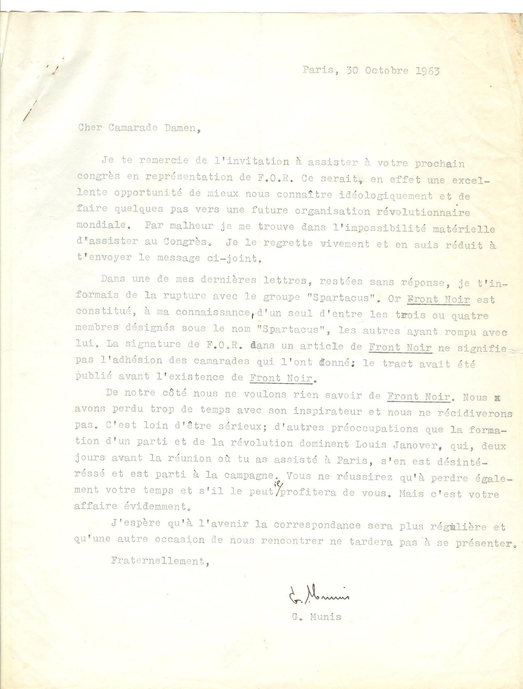 08 >> 6 - Lettera di Munis a Onorato Damen (30 ottobre 1963)