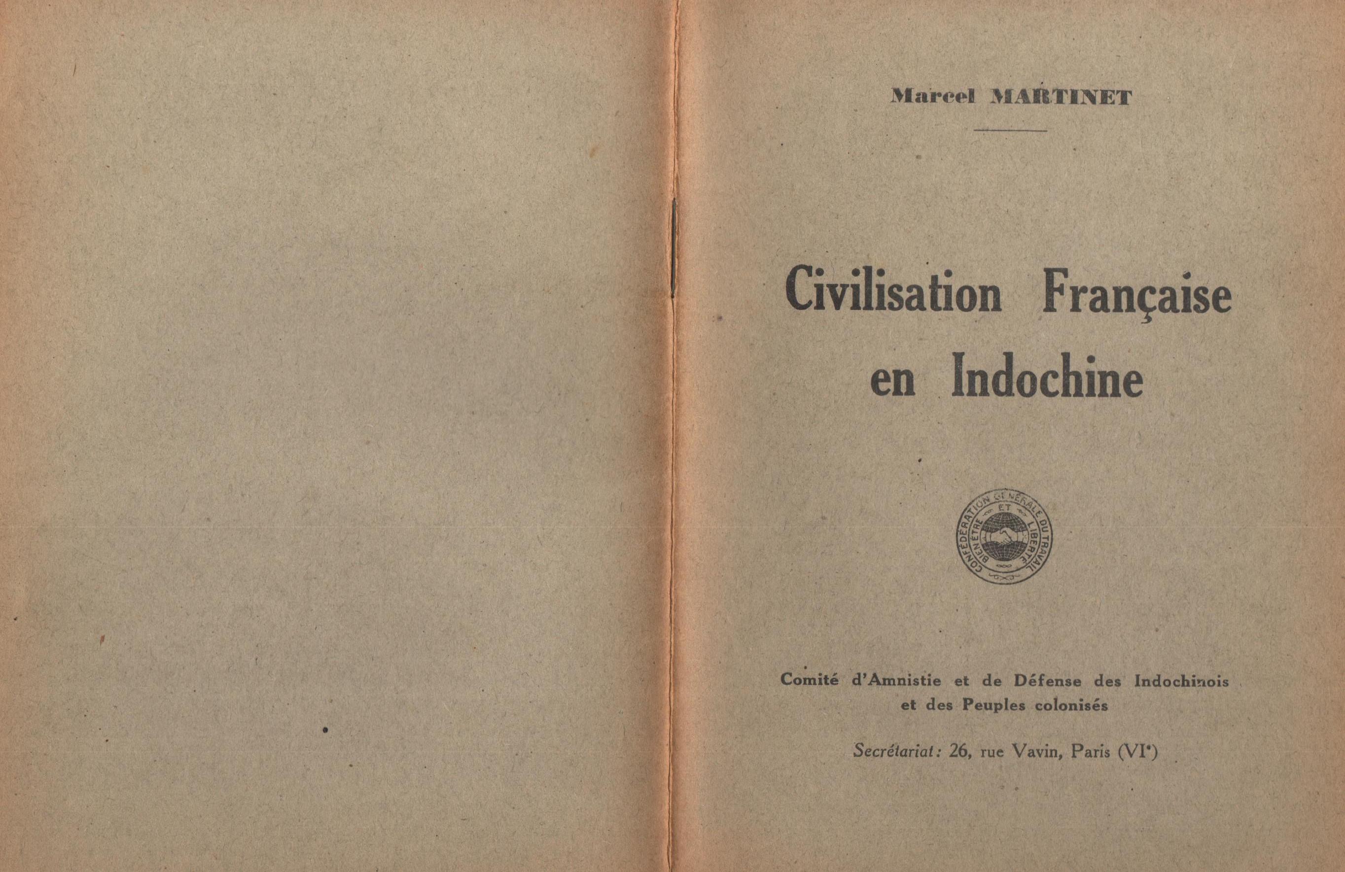 Marcel Martinet, Civilisation française en Indochine - pag. 1