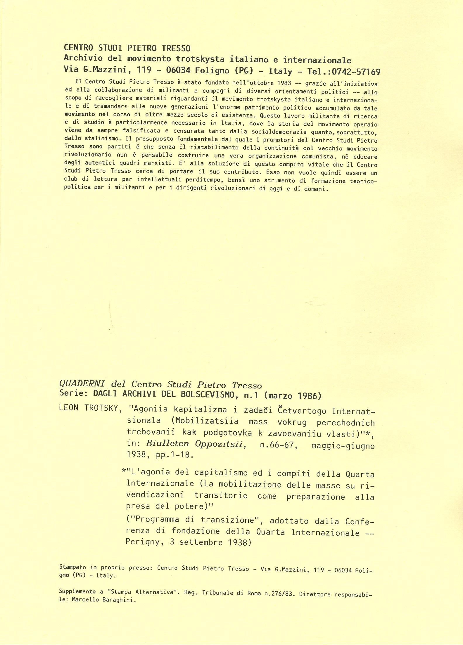 Dagli archivi del bolscevismo n. 1 (marzo 1986) - pag. I