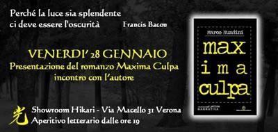 Marco Nundi ni presenta Maxima Culpa a Ikari di Verona
