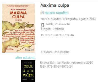 Maxima Culpa Marco Nundini ISBN 9788890870446