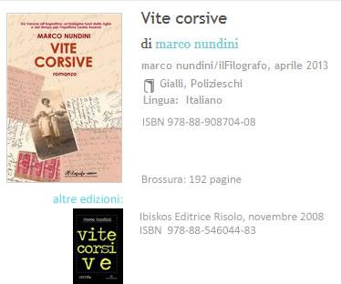 Vite Corsive Marco Nundini ISBN 9788890870408