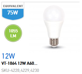 LAMPADINA BULBO 12W E27 LUCE NATURALE
