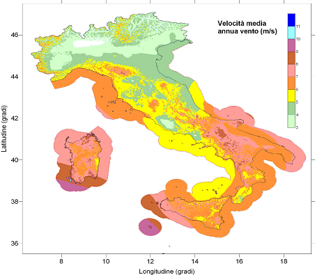 Mappa ventosità italia m/s