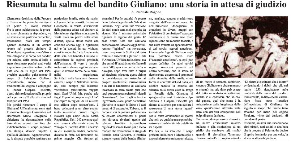 Salma Salvatore Giuliano esame ossa