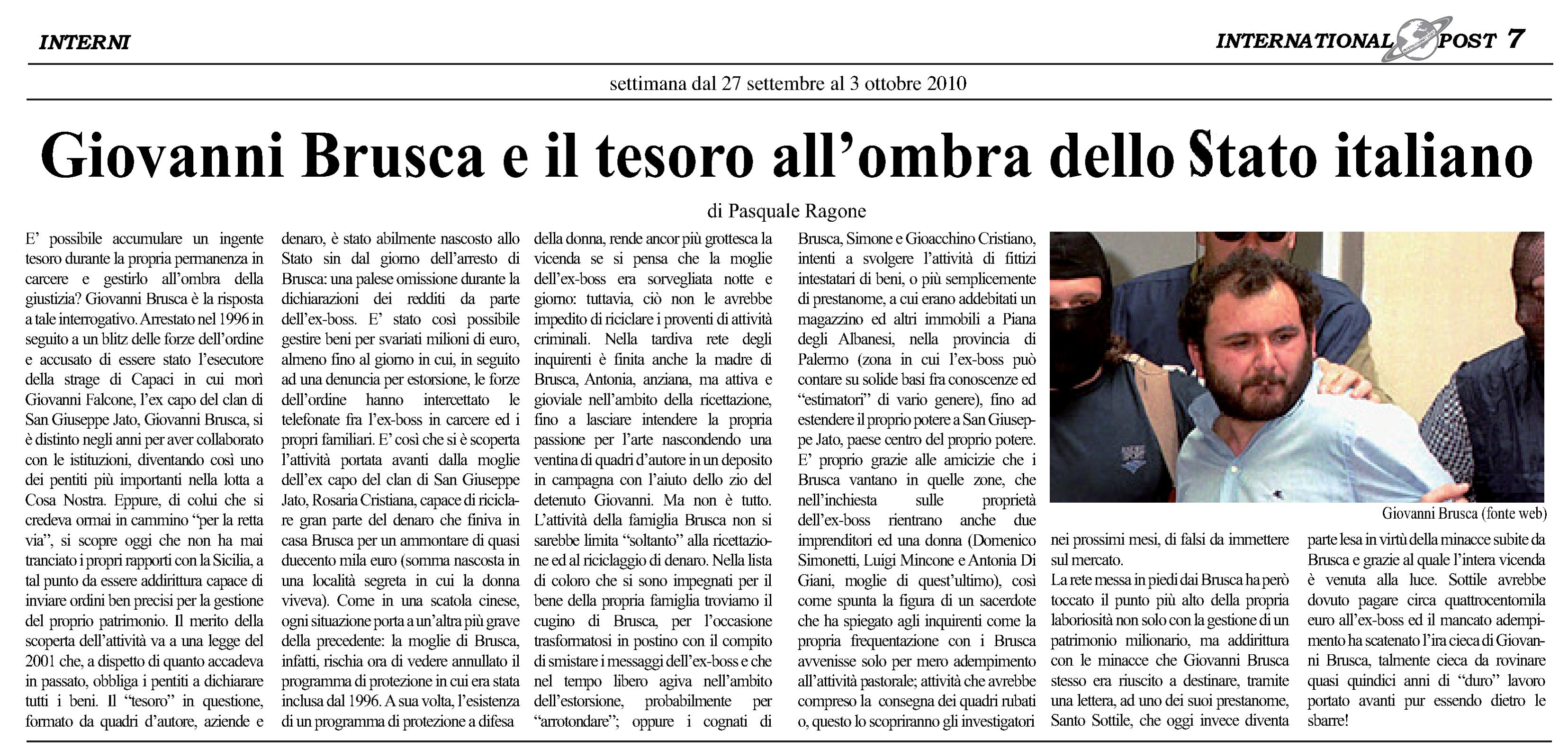 Giovanni Brusca e il tesoro all'ombra dello Stato italiano