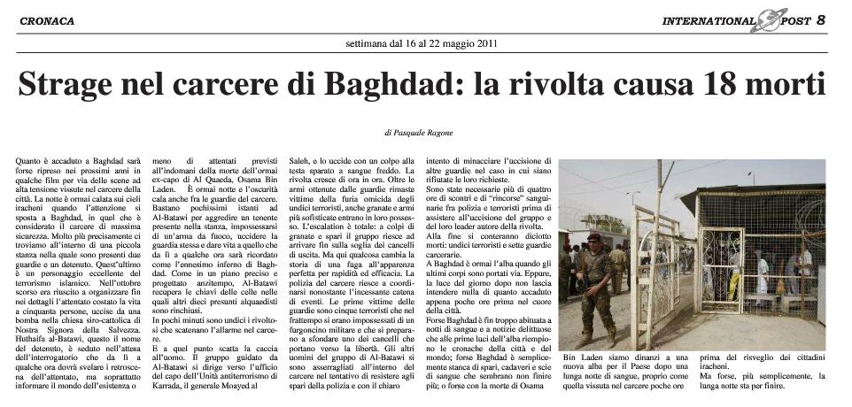 Strage nel carcere di Baghdad, rivolta con 18 morti