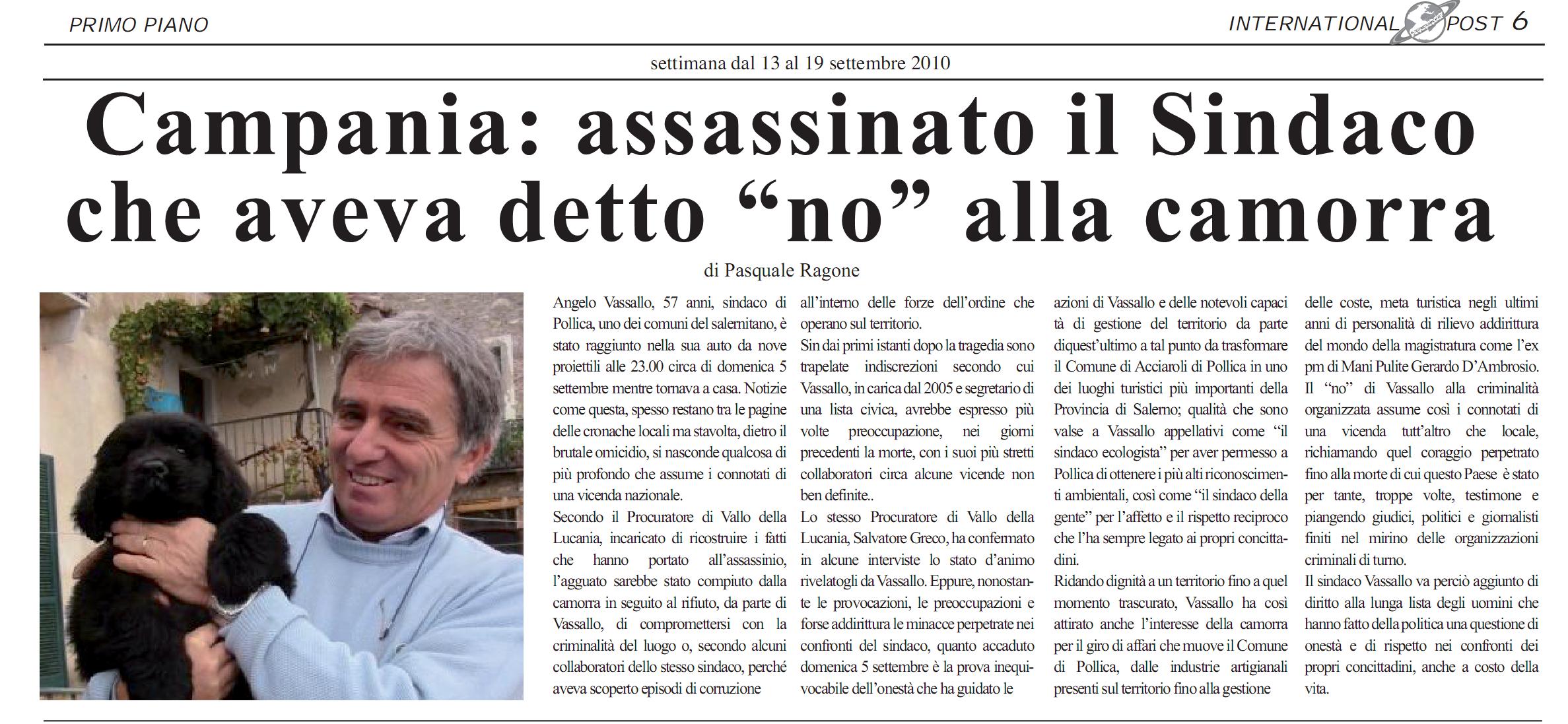 SPari Camorra sindaco Pollica