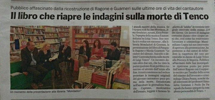 Libreria Mondadori Cosenza sul caso Tenco