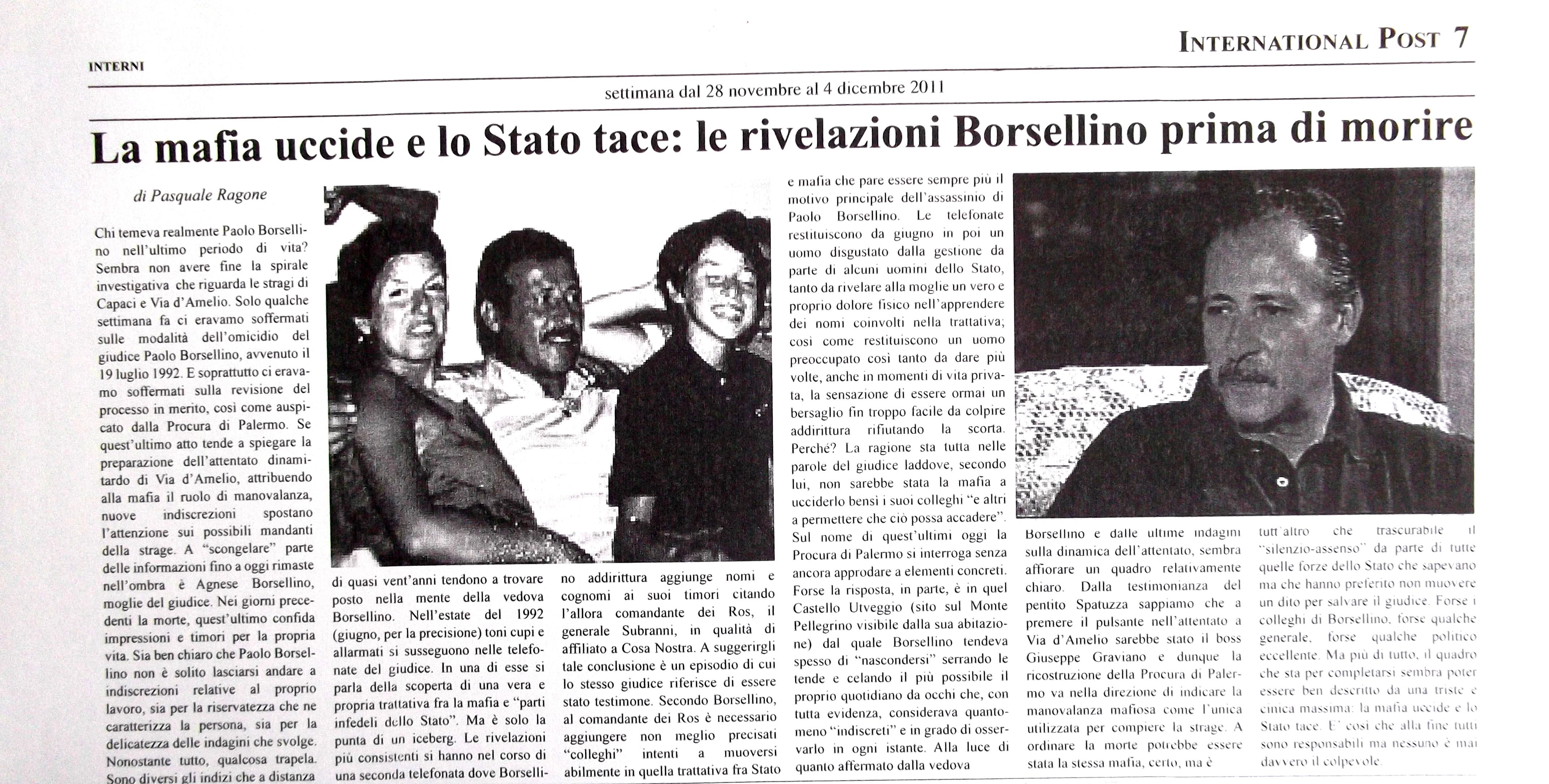 Attentato Paolo Borsellino Stato uccide