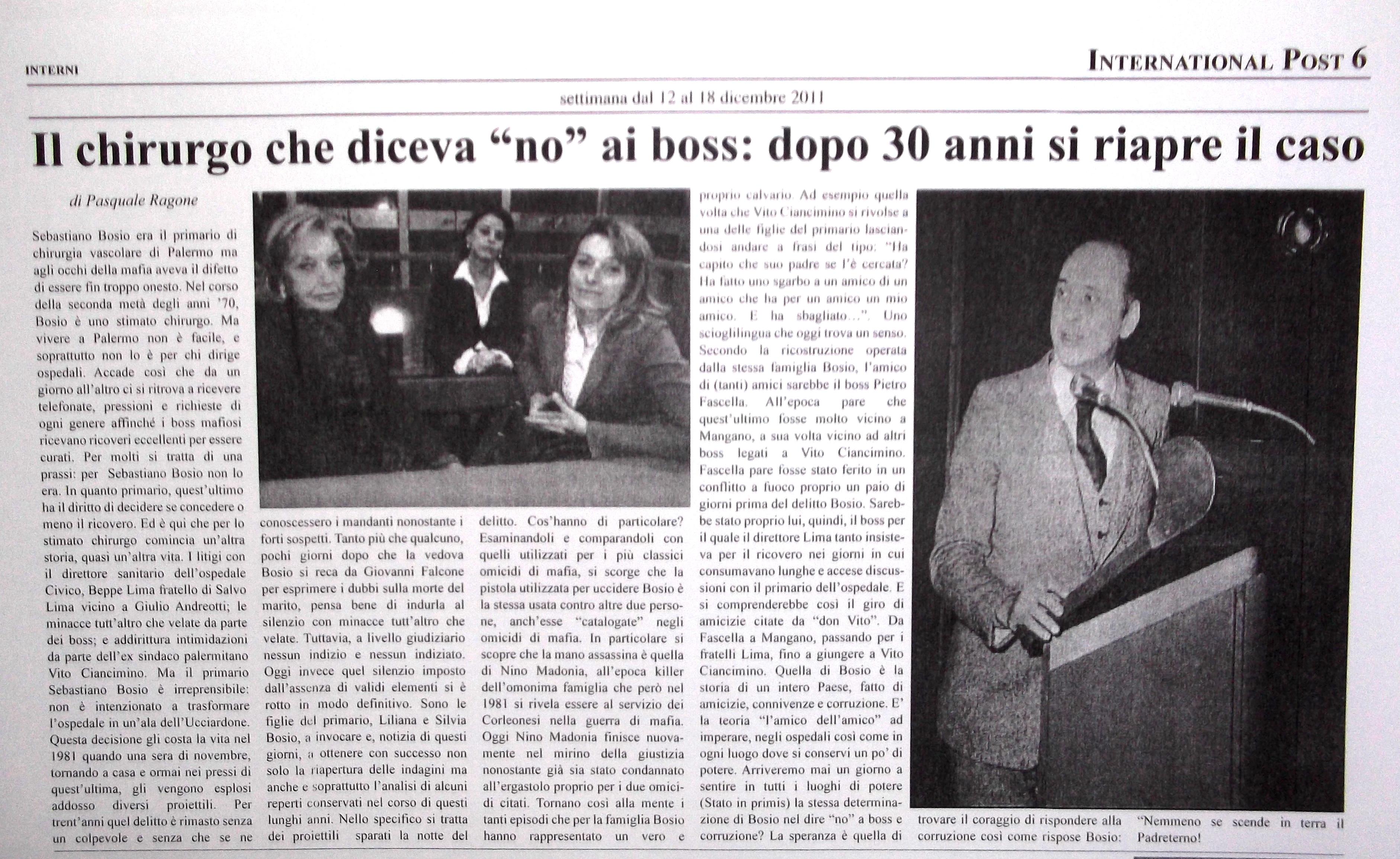 Chirurgo assassinato mafia Palermo