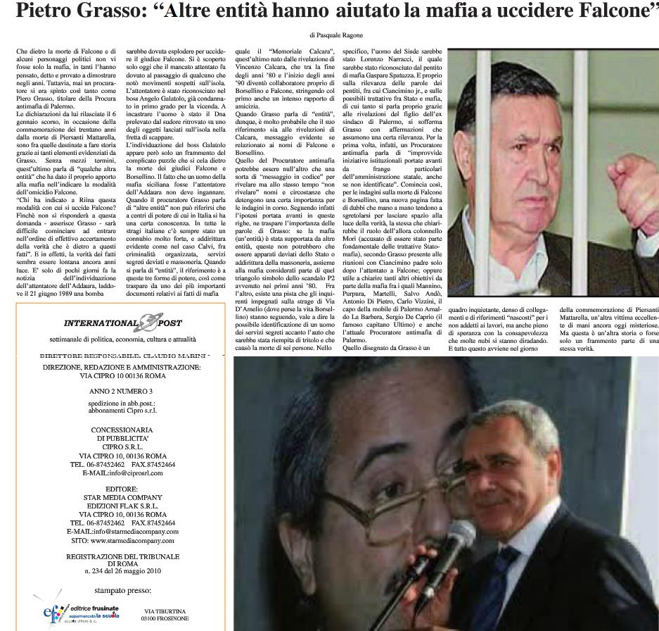 Pietro Grasso, altre entità hanno aiutato nelle stragi