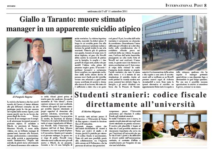 Suicidio Manager Taranto