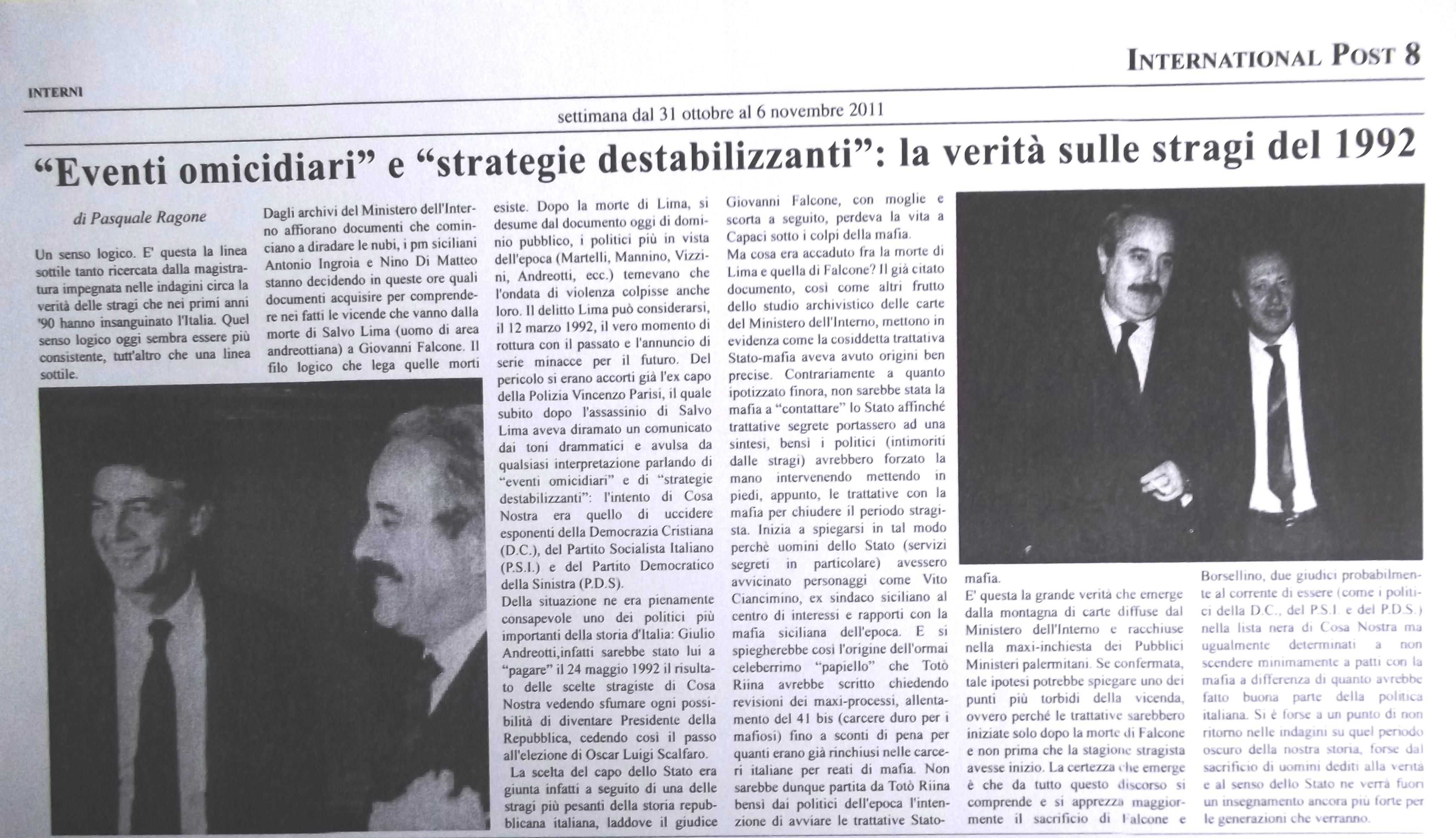 Eventi omicidiari, la verità sulle stragi Falcone e Borsellino