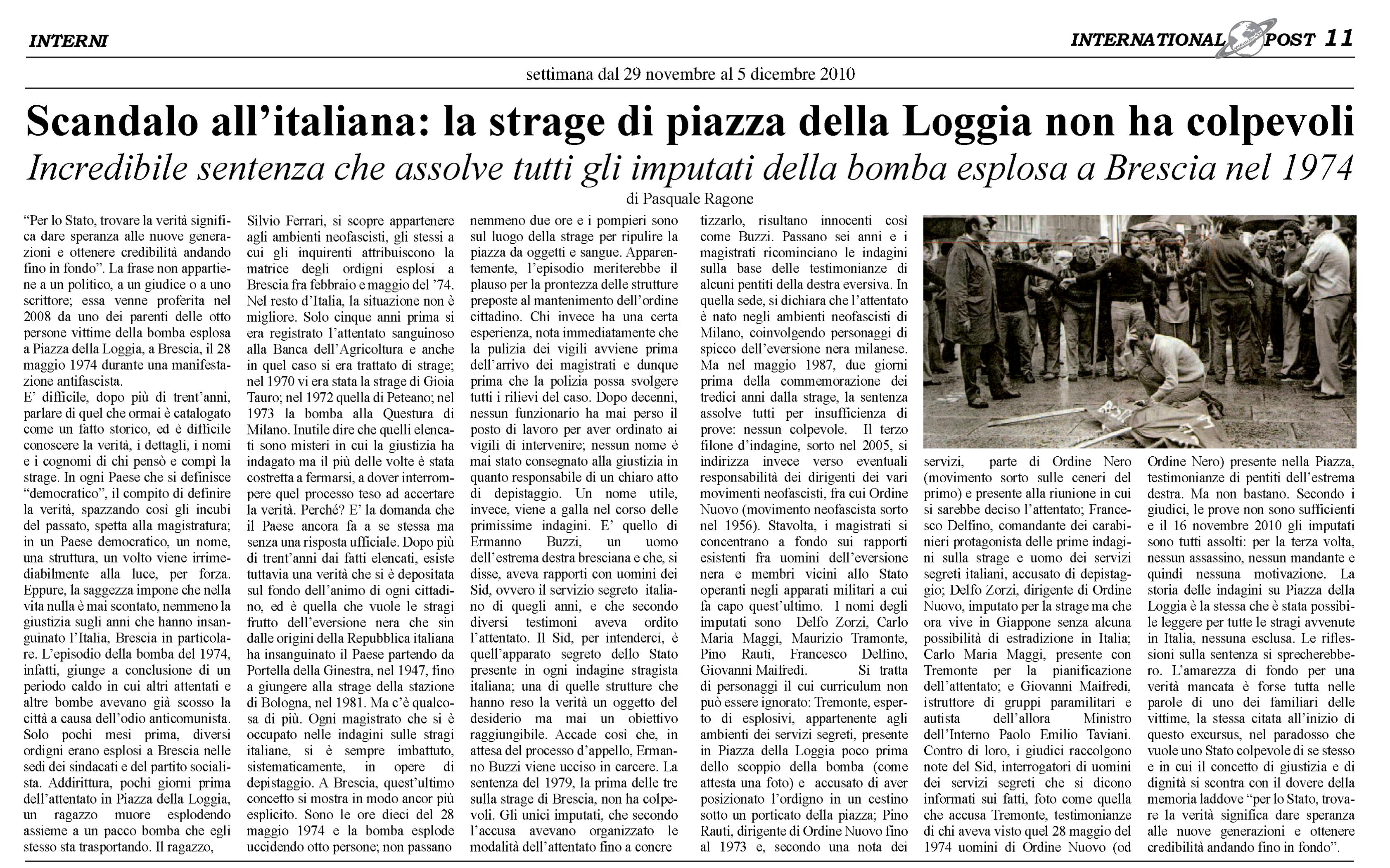 Strage Brescia scandalo all'italiana