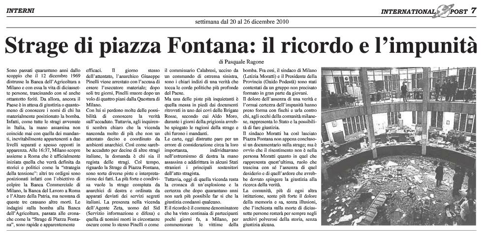 Il ricordo della strage Piazza Fontana