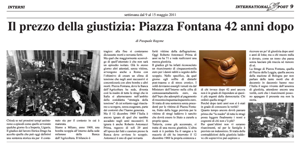 Risarcimento vittime bomba Milano 1969