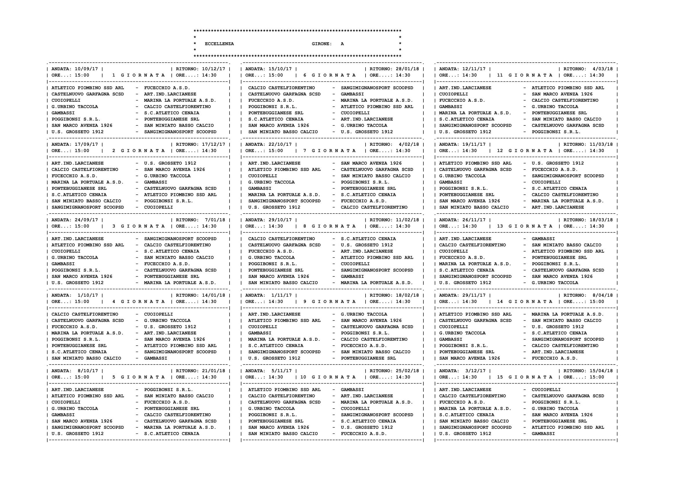 Calendario Eccellenza Toscana.Home Page