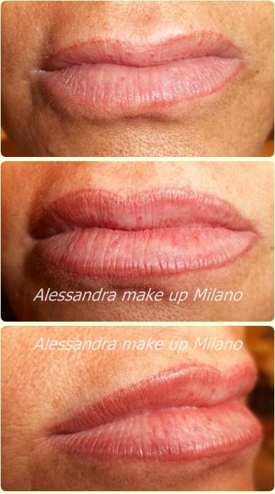 tatuaggio trucco permanente labbra con correzione forma e colore