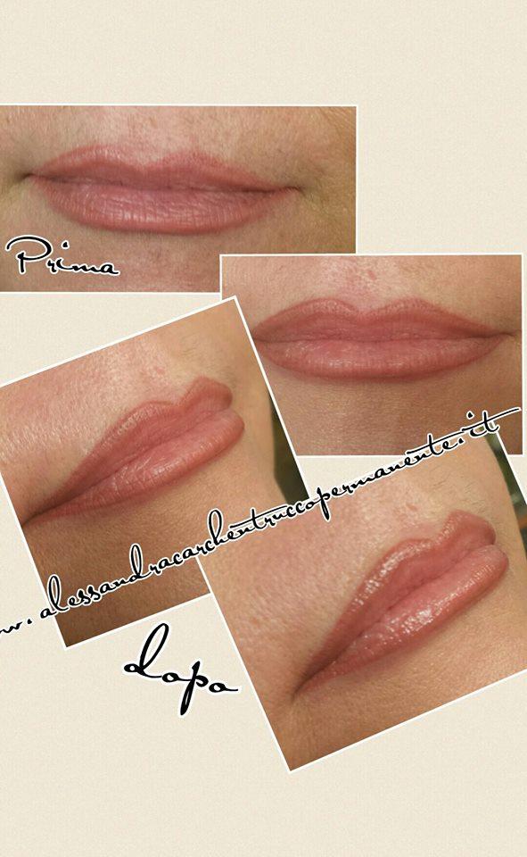 trucco permanente labbra con sfumatura effetto volume