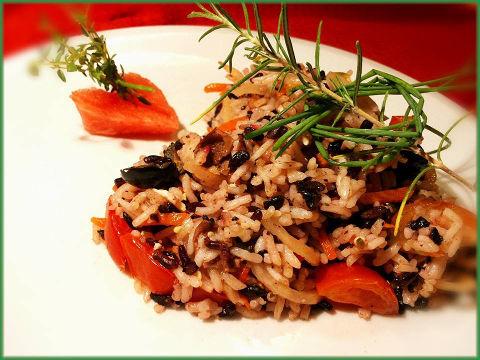 tortino riso erbe aromatiche fresche rosmarino erba cipollina cuore amore basmati venere verdure