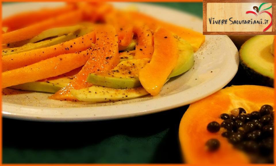 carpaccio papaya avocado miele sale pepe salutariano ricetta salutariana buono piatto viveresalutariani vivere salutariani