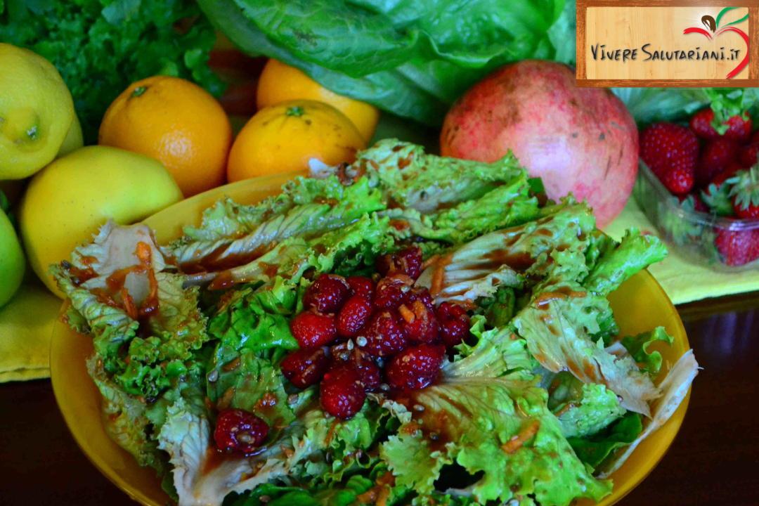 insalata lamponi semi canapa arancia piatto salutariano ricetta ricette salutariane