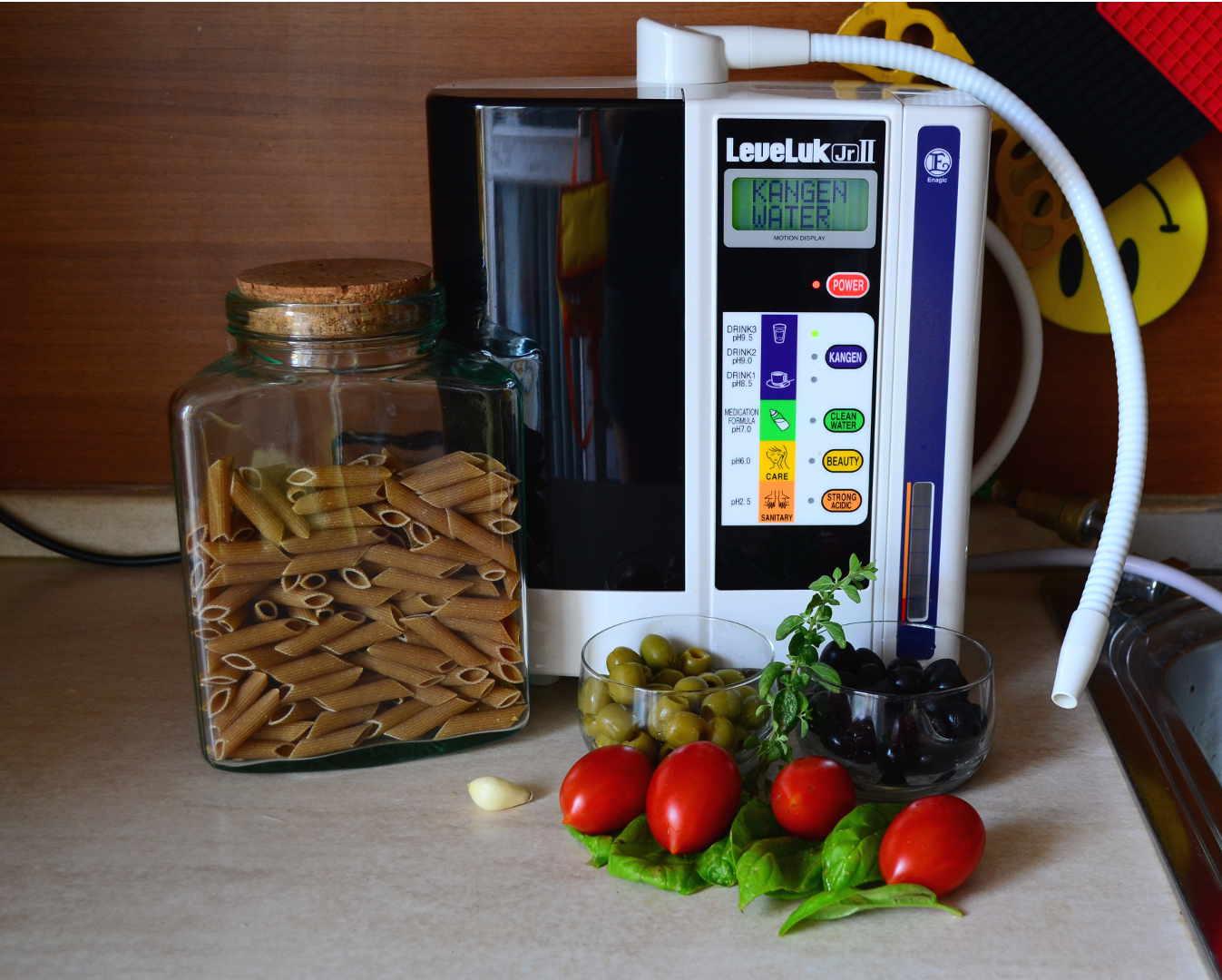 acqua kangen leveluk ionizzatore alcalinizzatore acqua alcalina integrali aglio olive verdi nere pomodorini piccadilly basilico origano vivere salutariani