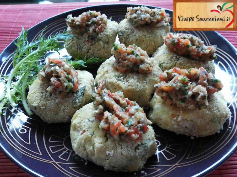 polpette ceci mizuna rucola peperoni cipolla soia salsa salutariano ricetta ricette salutariane piatto