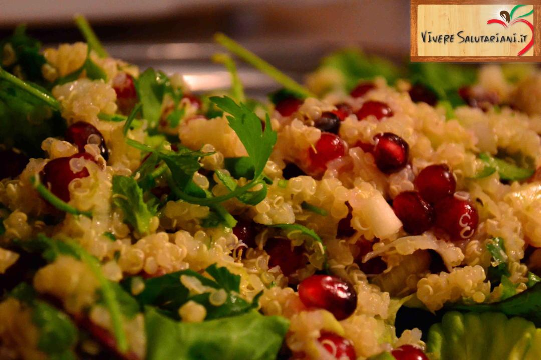 quinoa melograne lime prezzemolo insalata vivere salutariani salutariano ricette salutare salute