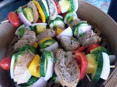 spiedini vegetariani vapore vaporiera bagnomaria