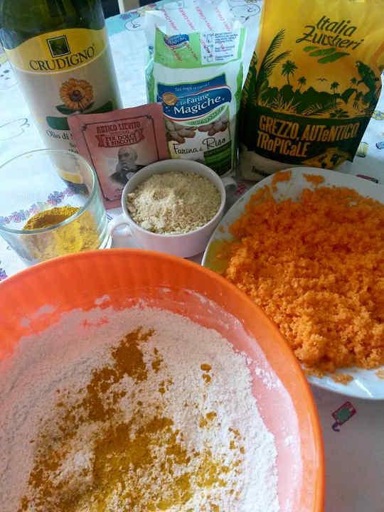 farina riso carote mandorle olio girasole cremor tartaro