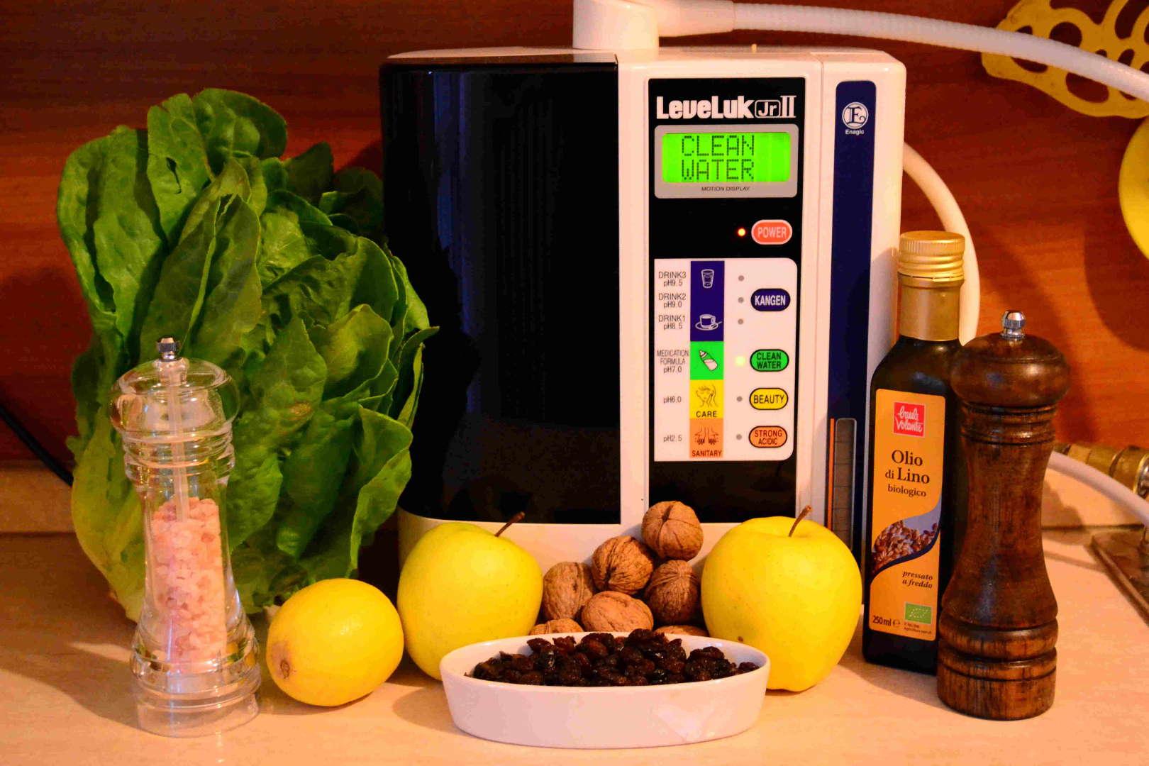 acqua kangen enagic leveluk junior 2 lattuga limone mela uvetta noci olio lino pepe