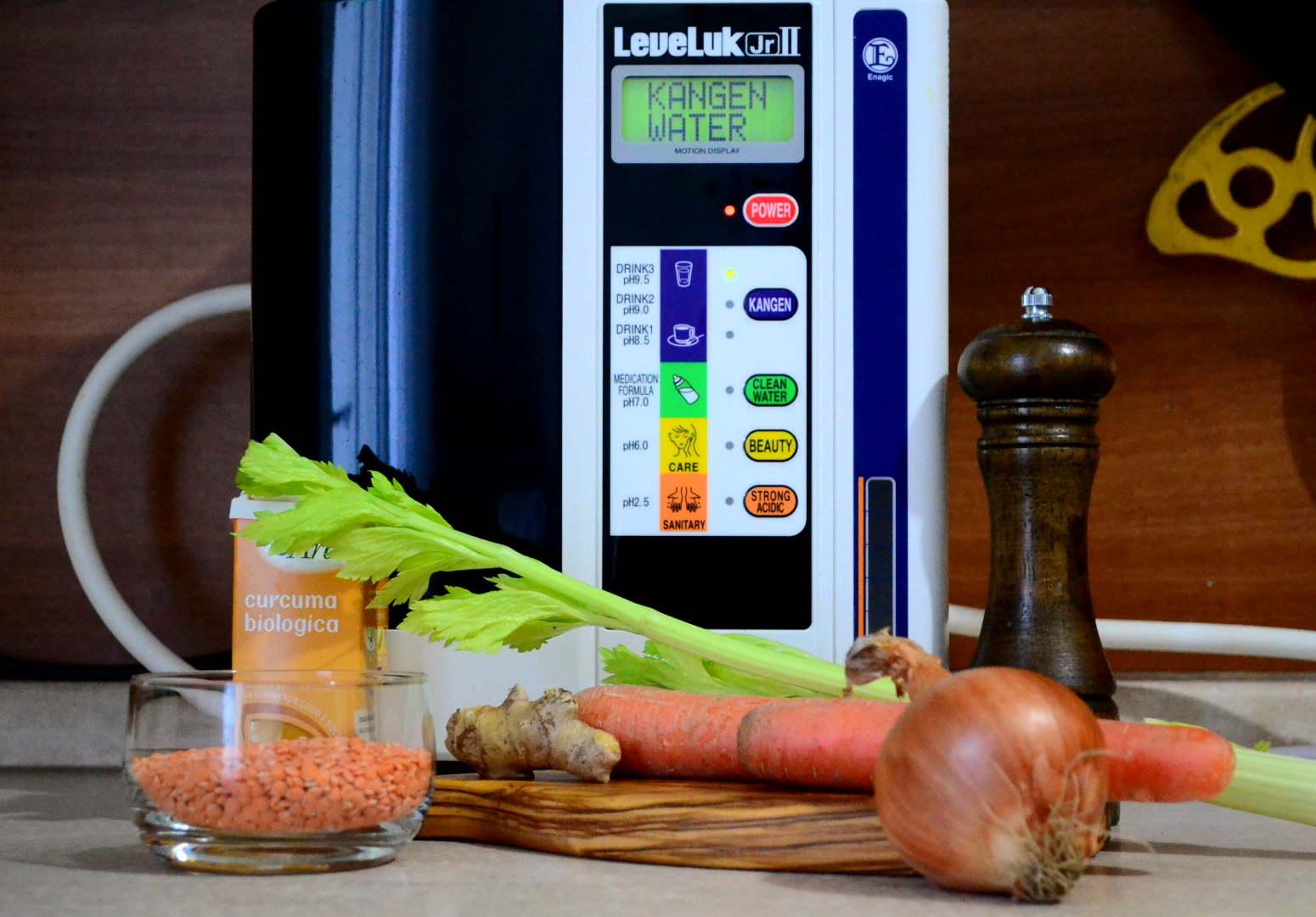 acqua kangen cucina cucinare leveluk ionizzatore enagic junior lenticchie zenzero sedano carota cipolla