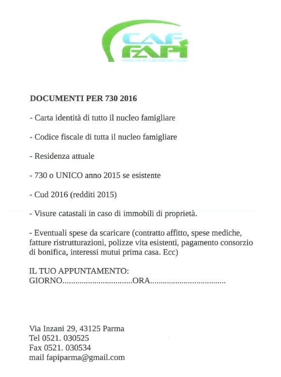 Modulistica e documenti richiesti for Documenti per 730