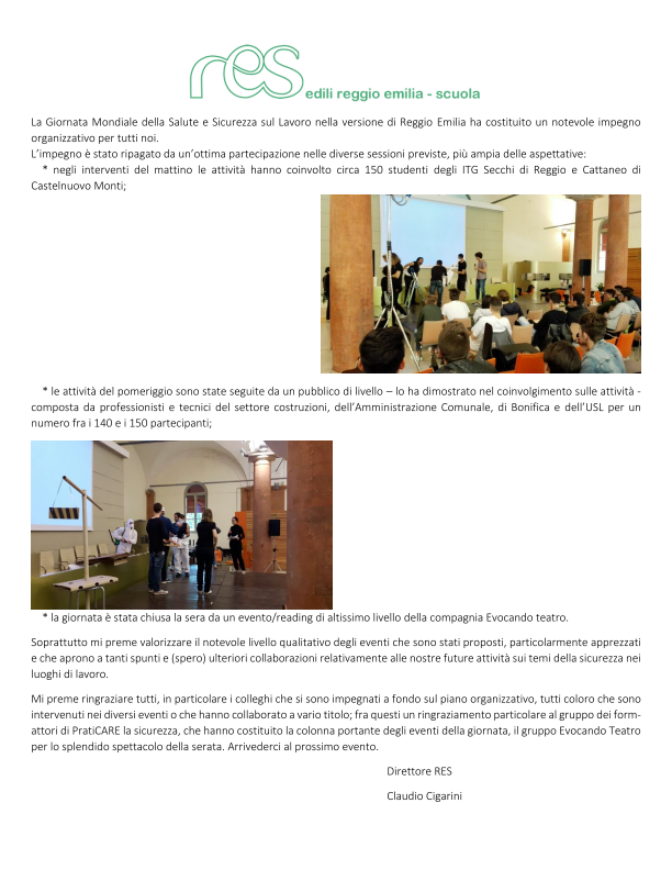 Giornata Mondiale della Salute e Sicurezza sul Lavoro - Italia LOVES Sicurezza - 28/04/2016